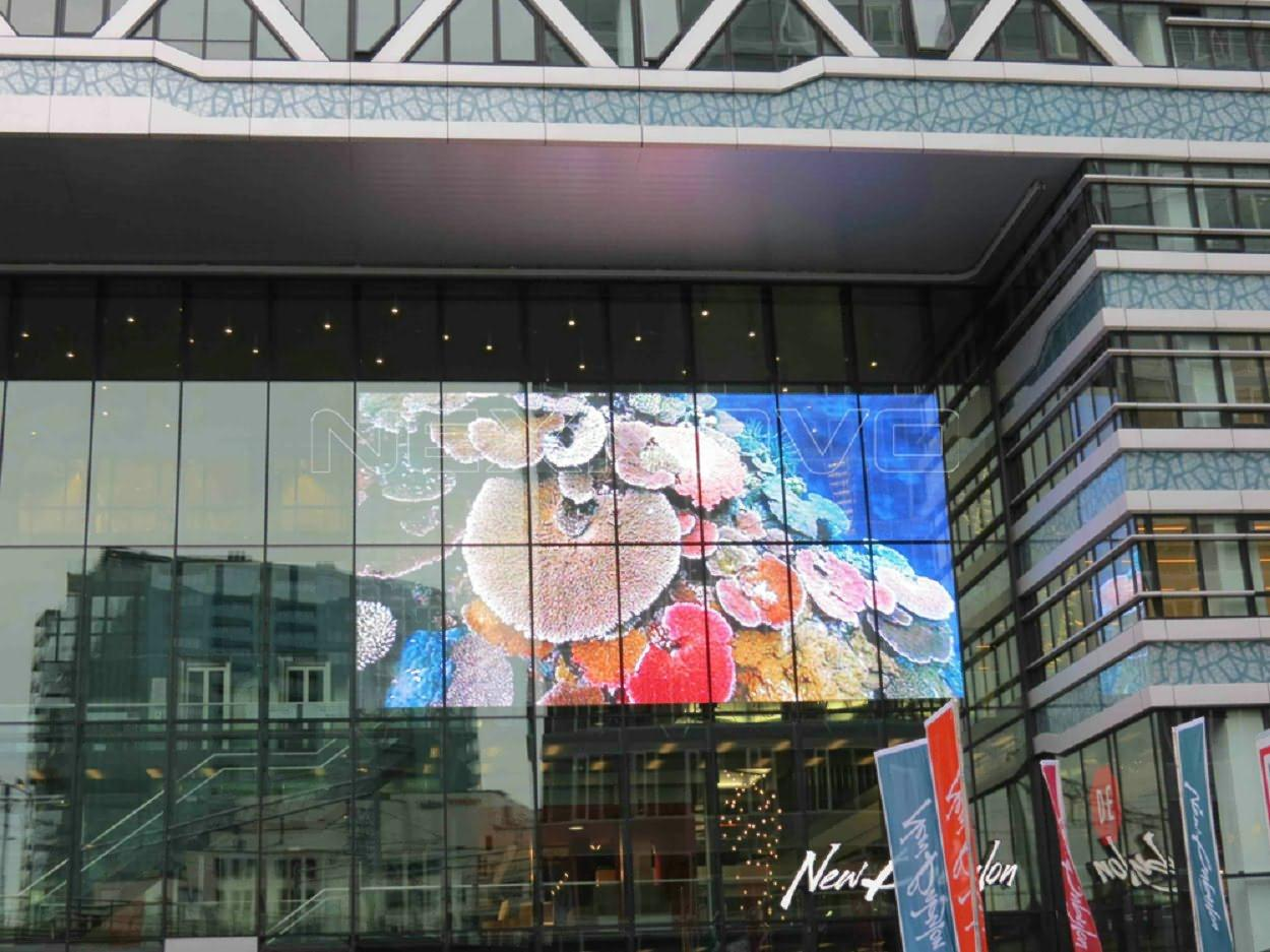 Netherlands Den Haag glass facade media transparent LED screen