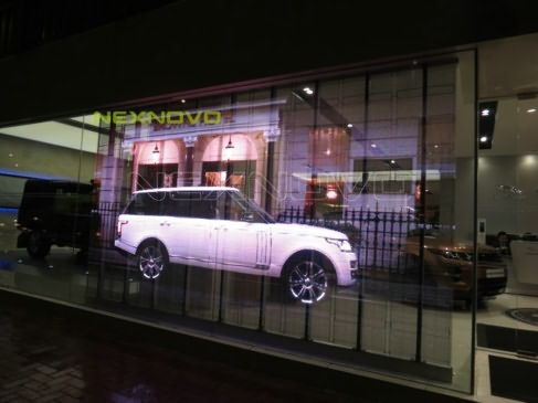 Hong Kong Causeway Bay Land Rover 4S store transparent LED display