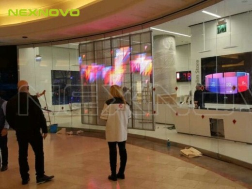 Israel Poalim Digital Bank glass transparent LED display