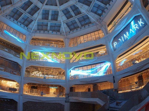 Spain Madrid PRIMARK flagship shopping mall transparent LED display