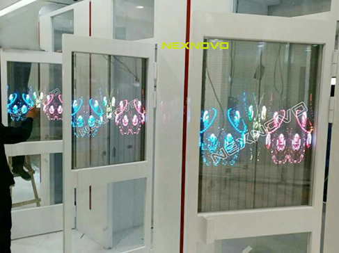 All in one window transparent LED poster for CZ BANK in China