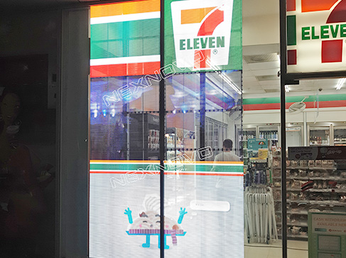7-11 store window advertising with NEXNOVO transparent display screen