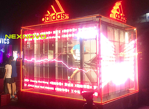 transparent LED screen display for adidas in Beijing,China