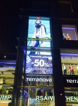Italy Terranova and Calliope brand flagship transparent LED display
